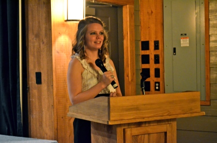 2013-2014 Anderson Society President, Lauren Hardison, welcomes guests to the 1st annual banquet.